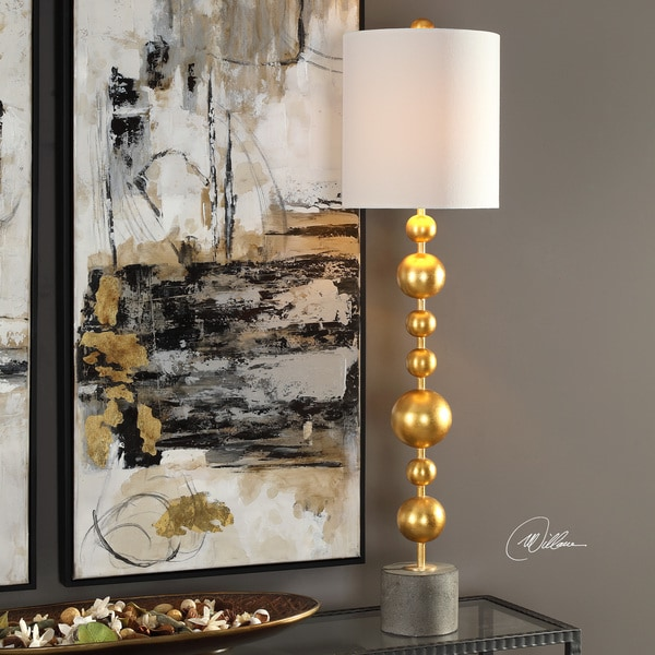 Uttermost Selim White and Goldtone Metal and Concrete 39.5-inch Buffet Table Lamp