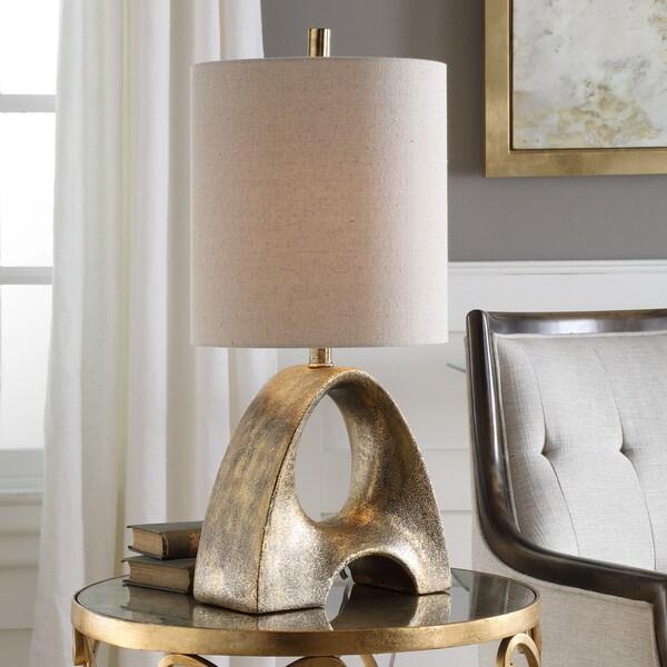 Uttermost Ladler Metallic Gold/Beige Ceramic/Steel/Fabric Table Lamp