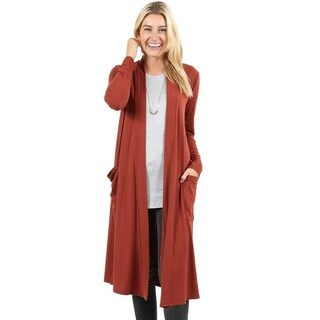 JED Women's Soft Fabric Long Cardigan with Pockets (4 options available)