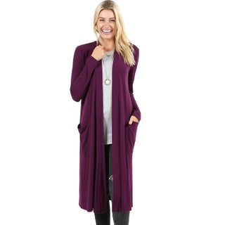 JED Women's Soft Fabric Long Cardigan with Pockets (Option: small - Plum)