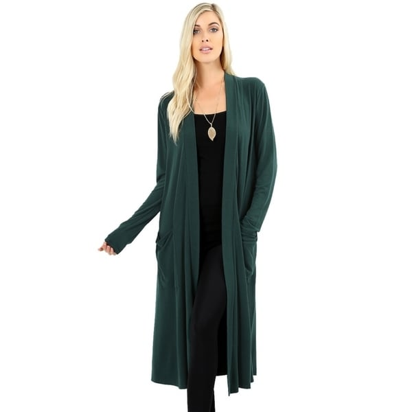 JED Women's Soft Fabric Long Cardigan with Pockets