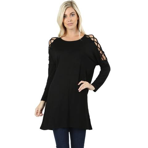 JED Women's Soft Fabric Criss Cross Shoulder Tunic Top
