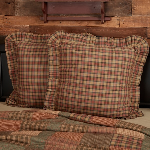 Tan Primitive Bedding VHC Crosswoods Euro Sham Cotton Plaid