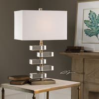 Uttermost Spilsby Antique Brass Stacked Crystal Block Table Lamp