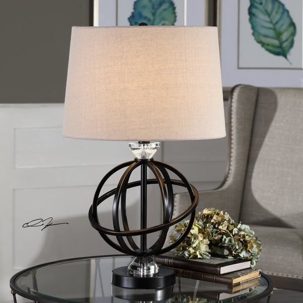 Uttermost Armilla Gloss Black Metal Orb Table Lamp
