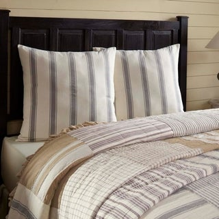 White Farmhouse Bedding VHC Grace Euro Sham Cotton Striped