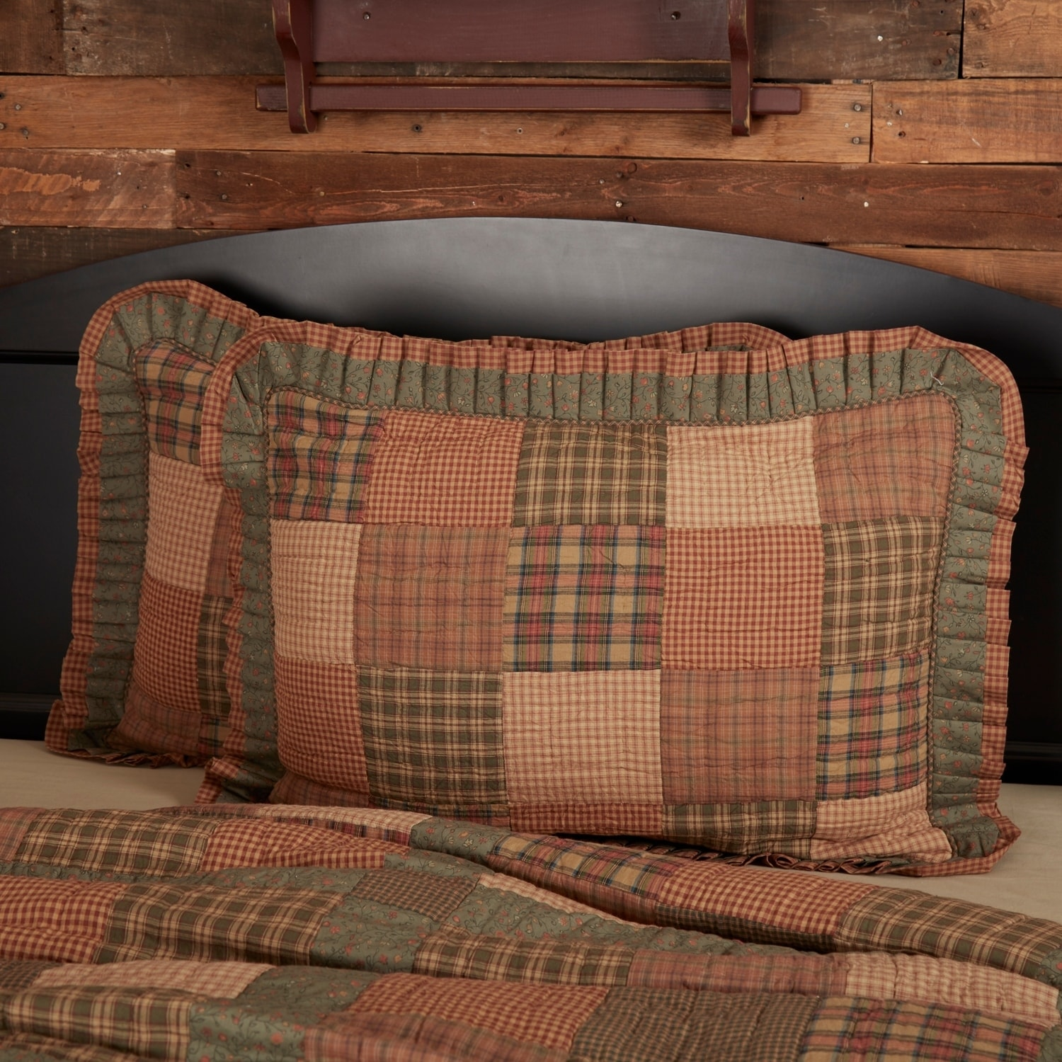 VHC Primitive King Sham Bedding Patchwork Hand Quilted Crosswoods Green Cotton
