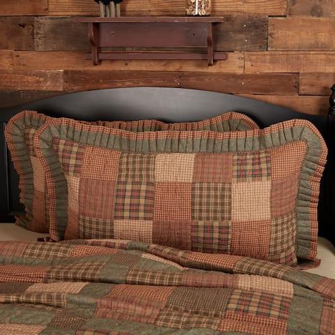 Green Primitive Bedding VHC Crosswoods Sham Cotton Patchwork