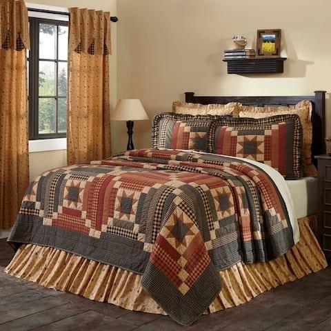 Tan Primitive Bedding Cobblestone Quilt Cotton Patchwork