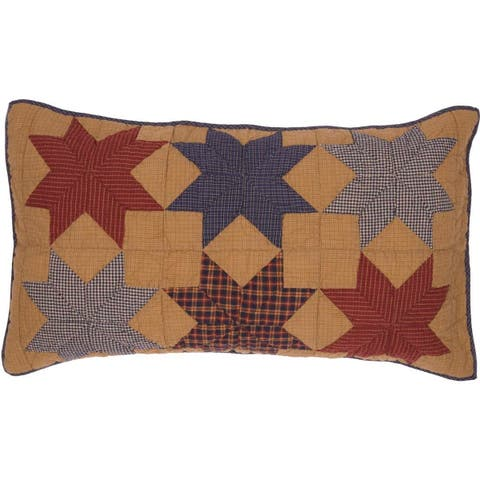 Tan Primitive Bedding VHC Kindred Star Sham Cotton Star Patchwork