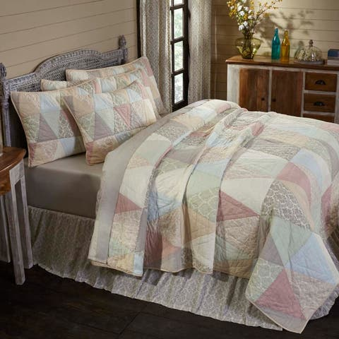 White Farmhouse Bedding VHC Ava Quilt Cotton Patchwork Cambric