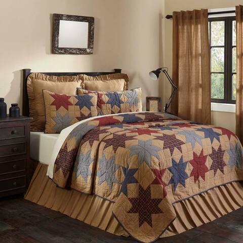 Tan Primitive Bedding VHC Kindred Star Quilt Cotton Star Patchwork