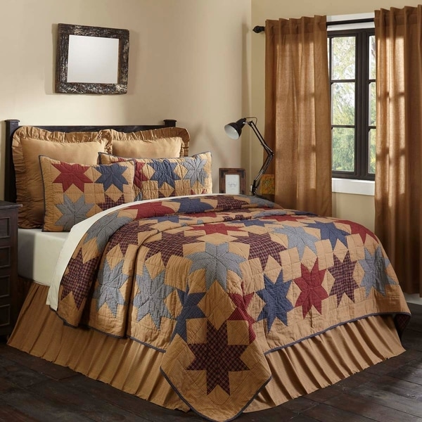 Tan Primitive Bedding VHC Kindred Star Quilt Cotton Star Patchwork