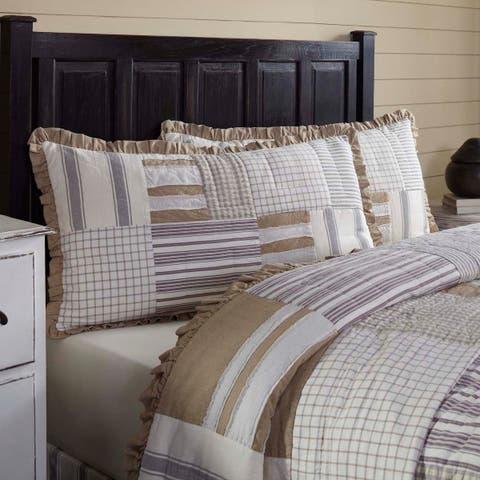 White Farmhouse Bedding VHC Grace Sham Cotton Patchwork Cotton Burlap