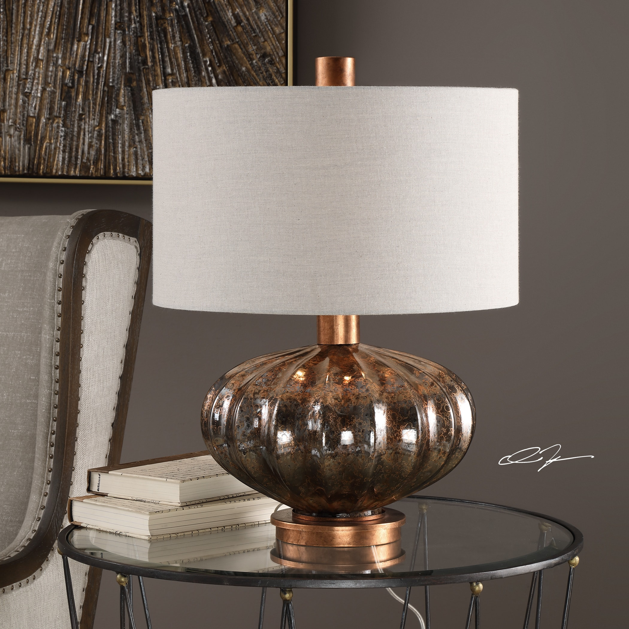 Uttermost Dragley Bronze Gl And Metal Table Lamp