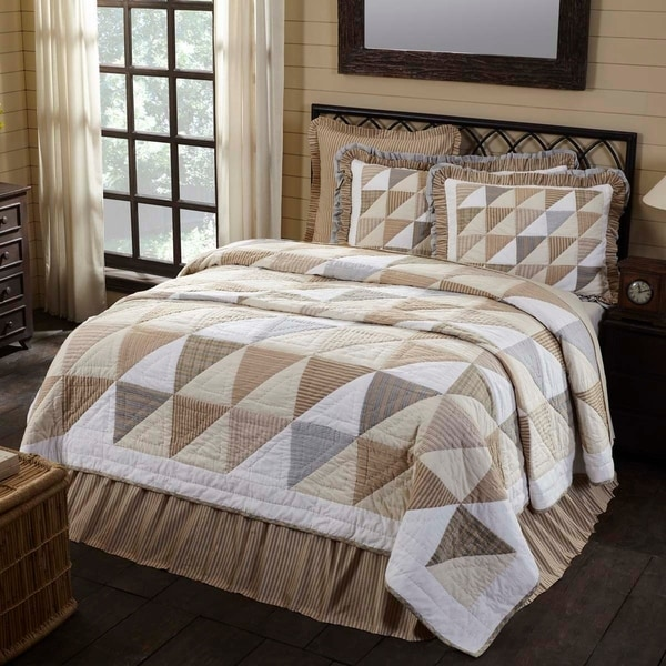 White Farmhouse Bedding VHC Joanna Quilt Cotton Geometric Patchwork