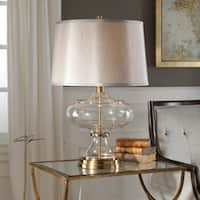Uttermost Jelani Brushed Brass/Clear/Light Grey Metal/Glass/Linen Table Lamp