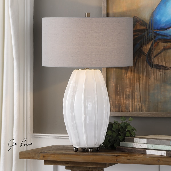 Uttermost Marazion Brushed Nickel Gloss White/Grey Steel/Ceramic/Fabric Table Lamp