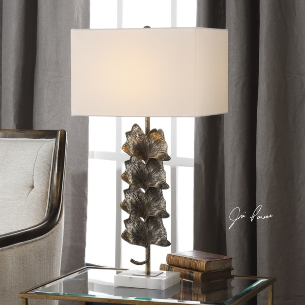Uttermost Ginkgo White/Metallic Aged Gold Stacked Leaves Table Lamp with Marble Base