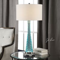 Uttermost Mecosta Polished Nickel and Sky Blue Steel, Resin, and Fabric Table Lamp