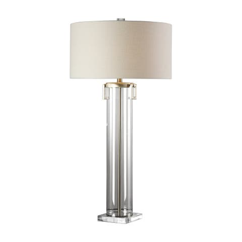 Uttermost Monette Brushed Nickel Tall Cylinder Table Lamp