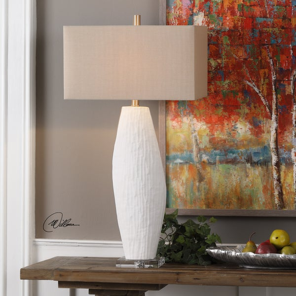 Uttermost Vona Brushed-Nickel White Table Lamp