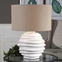 Uttermost Brushed Nickel Crackled White Ceramic 25.25-inch Table Lamp