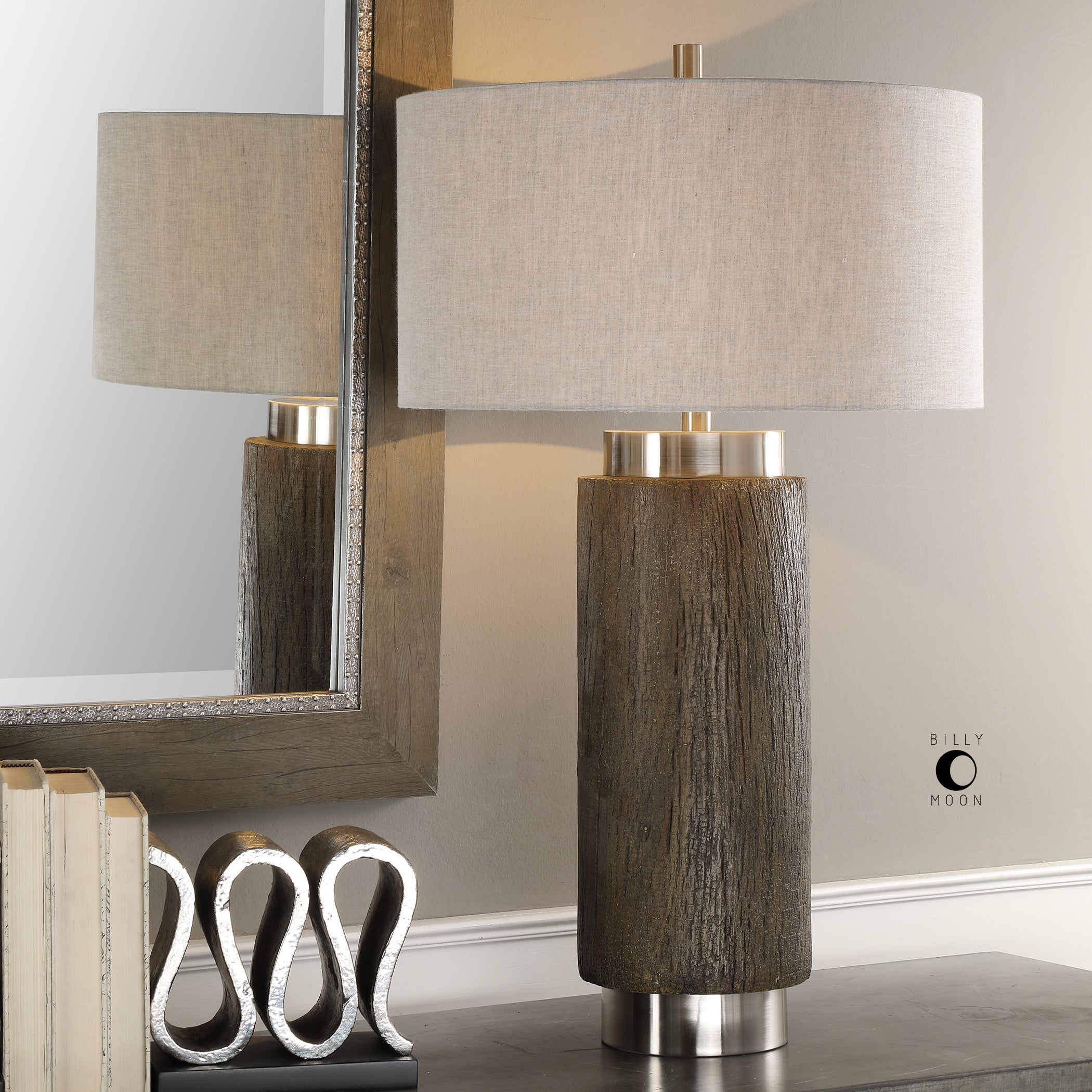Shop Black Friday Deals On Uttermost Cheraw Brushed Nickel Wood Cylinder Table Lamp Overstock 19433378