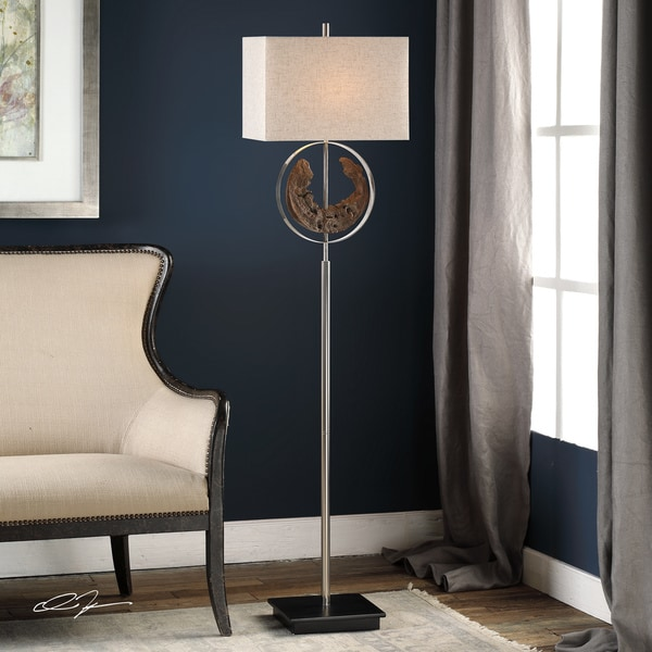 Uttermost Ambler Polished Nickel Driftwood Rectangular Floor Lamp