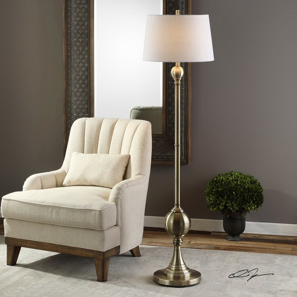 Uttermost Abriola Antiqued Brass White Linen Metal Floor Lamp