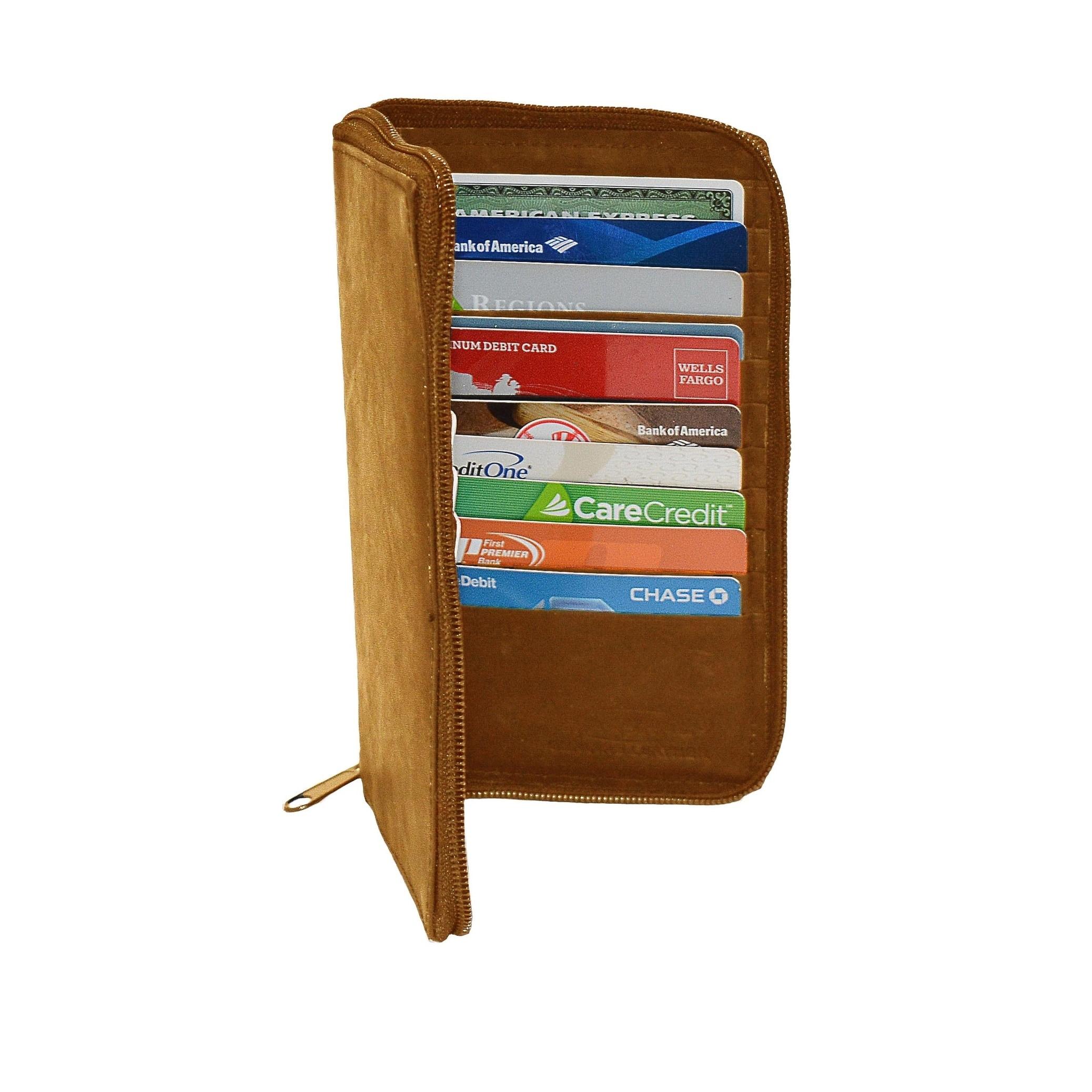 Bifold Brown Genuine Leather Checkbook Holder Wallet 13 card slots /& 5 pockets