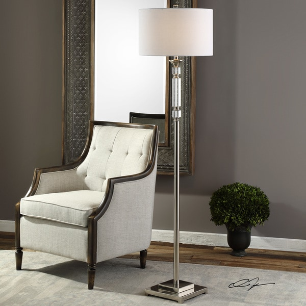 Uttermost Volusia Polished Nickel Metal and Crystal Floor Lamp