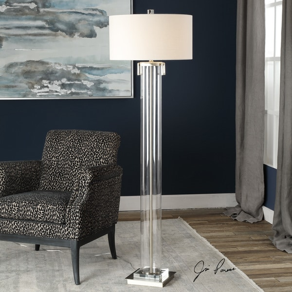 Uttermost Monette Brushed Nickel Acrylic Tall Cylinder Floor Lamp