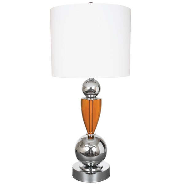 Van Teal Every Morning Silvertone/Orange Metal 35-inch Table Lamp with White Linen Shade