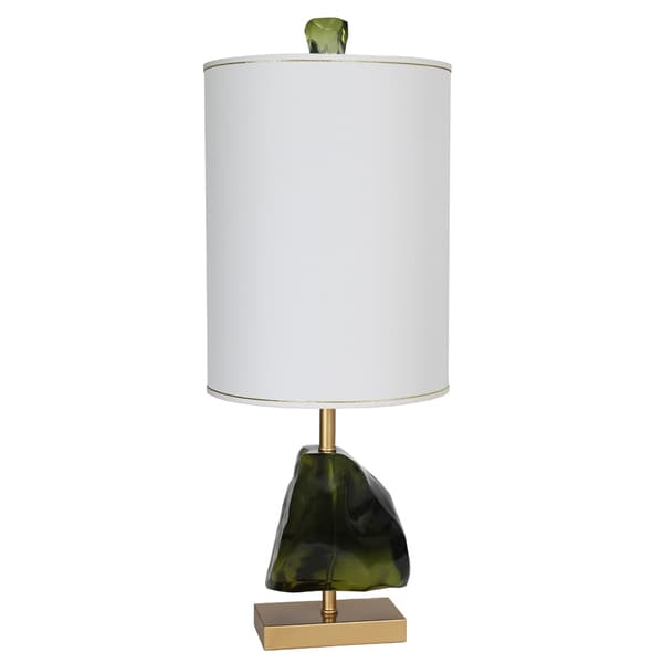 Van Teal Naples Goldtone/Green Metal 39-inch Table Lamp with Beige Linen Shade