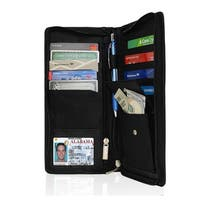AFONiE RFID Blocking Organizer Checkbook Card Case Genuine Leather Bifold Wallet