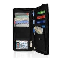 AFONiE RFID Blocking Organizer Checkbook Card Case Genuine Leather Bifold Wallet