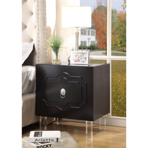 Gobi Wood Lacquer Chrome Side Table/Accent Table/Nightstand