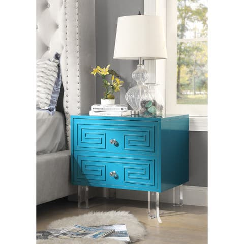 Wolf Lacquer Nightstand with Acrylic Legs