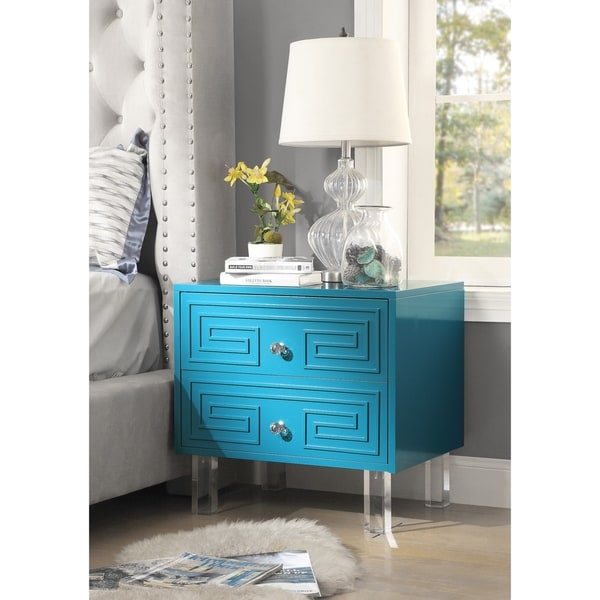 Wolf Lacquer Nightstand/Side table/Accent Table Greek Key Design Acrylic Legs