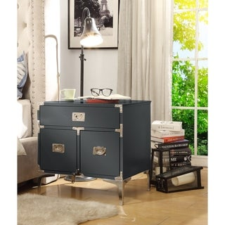 Joliet Wood Lacquer Chrome Table/Accent Table/Nightstand 3 Drawers