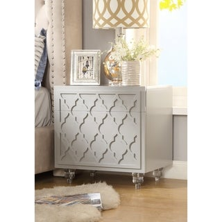 Cara MDF Wood Modern Trellis Lacquer Side/Accent Table/Nightstand