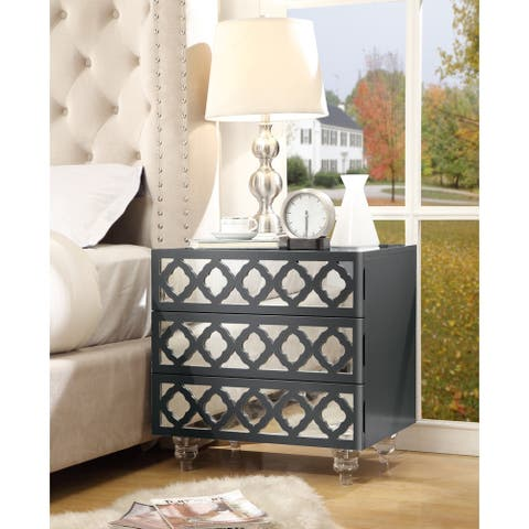 Dali Wood Modern Lacquer Chrome Side Table/Accent Table/Nightstand