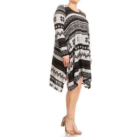 Women's Plus Size Aztec Abstract Pattern Tunic Dress