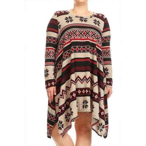 Women's Plus Size Aztec Abstract Pattern Tunic Dress