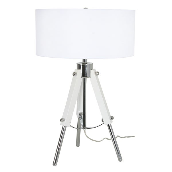 Van Teal 632072 All Out Glossy White Acrylic/Chrome Metal 28-inch Table Lamp