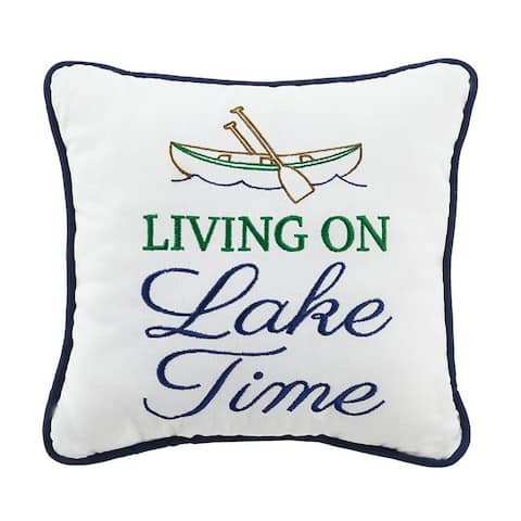 Living On Lake Time Embroidered Canvas Pillow