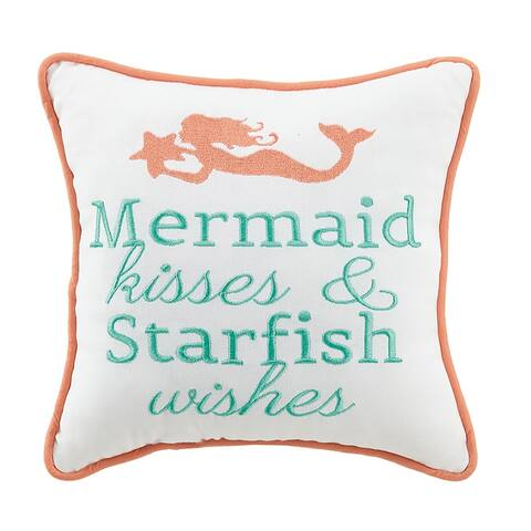Mermaid Kisses and Starfish Wish Embroidered Pillow