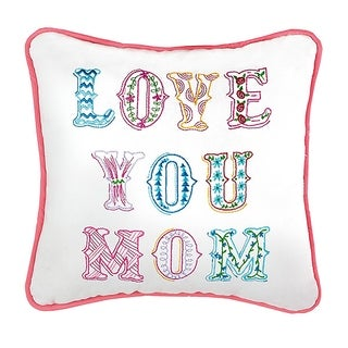 Love You Mom Embroidered Canvas Pillow