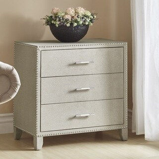 Emery 3-Drawer Beige Linen Nailhead Trim End Table by iNSPIRE Q Bold